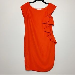 Zara | Orange ruffle front side zip dress size M